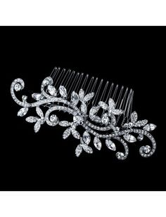 VINTAGE INSPIRED SILVER CRYSTAL VINE HAIR COMB - BRIDAL WEDDING HAIR ACCESSORIES - Vintage Wedding Hair Combs - Wedding Hair Combs - Wedding Hair Accessories - Wedding Accessories