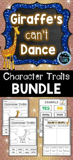 Giraffes Can't Dance - Character Traits Bundle - No prep worksheets, task cards, sorting activities and character trait game. Sorting Activities, Science Activities, Character Traits Activities, Character Education, Gerald The Giraffe, Giraffes Cant Dance, First Day Of School Activities, Teacher Resources, Classroom Resources