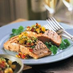 Grilled Salmon Fillets with Mango-Cucumber…