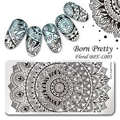 Born Pretty Rectangle Nail Art Stamp Template Image Plate Mandala for sale online Manicure Images, Nail Art Images, Nail Manicure, Nail Art Stamping Plates, Nail Plate, Nail Patterns, Flower Patterns, Nagel Stamping, Nail Stencils