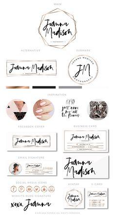 Blogger Branding Kit Photography Logo Premade calligraphy