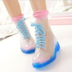 WOMEN New 2014 PVC Transparent Womens candy color Crystal Clear Flats Water Shoes Female Platform Rainboot Martin Rain Boots $24.99