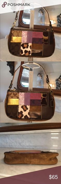 NWOT Patchwork Coach Evening Handbag This is such a cutie and is perfect for when you are out and don't want to carry everything you own. This is a great idea, if you are anything like me and get a big bag and load it down, this gives your shoulder and back a break. It is a lovely collage of the best of Coach, with a mix of leathers and different fabrics. There is solid brass hardware. No damage anywhere. Coach Bags Mini Bags
