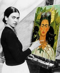 """""""I was born a bitch. I was born a painter"""" - Frida Kahlo. """" I paint self-portraits because I am so often alone,because I am the person I know best""""- Frida Kahlo Diego Rivera, Frida E Diego, Frida Art, Frida Kahlo Artwork, Illustration Art, Illustrations, Mexican Art, Famous Artists, Best Female Artists"""