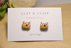 Little Owl Earrings - beautiful handmade polymer clay jewellery by Clay & Clasp. $20.00, via Etsy.