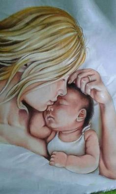 The begining by nataliarak Pencil Art Drawings, Art Drawings Sketches, Bff Drawings, Mother And Child Painting, Mother And Baby Paintings, Mother Daughter Art, Birth Art, Baby Drawing, Baby Art