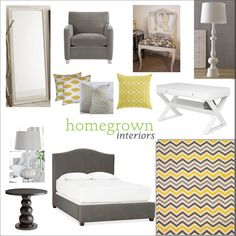 Grey and Yellow bedroom--a ripple crochet blanket in grey, white, and yellow--love it!