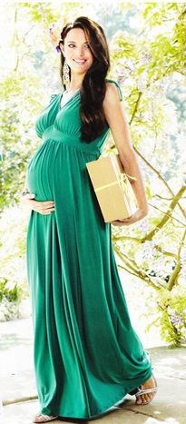 Drawstring Maxi Maternity Dress Emerald Green