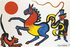 Alexander Calder (American, 1898-1976), Tricolored Horse, 1974. Gouache and ink on paper, 74.6 x 109.2 cm.