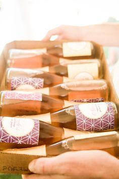 adult party favors :) sparkling juice with personalized rapunzel labels