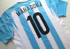 Argentina 2015/2016 home football shirt Maradona #10 by Adidas  #Argentina #Maradona #nationalteam #adidas #afa #maglia #camisa #soccerjersey #footballshirt #jersey Soccer Jerseys, Football Shirts, National Football Teams, Sports, Tops, Shirts, Football Jerseys, Football Jerseys, Sport