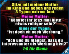 Danach war Ruhe :) #Konter #gutgekontert #Mama #Mutter #Sprüche #Jodel #lustigeSprüche #Humor #1jux