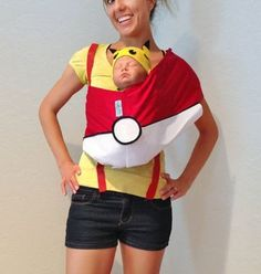 Mommy & Me Baby or Toddler Halloween Costume - Pikachu and Pokemon. Converts back to sling when Halloween is over Toddler Halloween Costumes, First Halloween, Creative Halloween Costumes, Halloween 2016, Mom And Baby Costumes, Halloween Ideas, Halloween Party, Holiday Costumes, Family Costumes