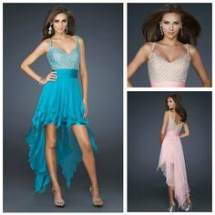 2012 Collection Spaghetti strap Beaded Pink and Turquoise Chiffon A-line Short Front Long Back Prom Dresses 2012