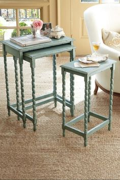 Rivera Nesting Tables from Soft Surroundings-might be cool for snack cart....like the nesting tables