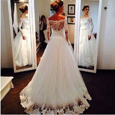 Off-Shoulder Lace Bridal Gown Wedding Dress Custom Size 2 4 6 8 10 12 14 16 18+