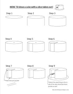 How to draw a cake with a slice taken out. Art Sub Lessons: Wayne Thiebaud Art Sub Lessons, Drawing Lessons, Drawing Step, Drawing Techniques, Art Sub Plans, Art Lesson Plans, Middle School Art, Art School, Cake Drawing