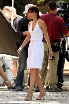 Leighton lookin good with bangs, love the Grecian white dress!