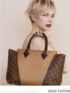 f932b71aa2 via The Neo-traditionalist  Michelle Williams Louis Vuitton Handbag Ad  Campaign. Michelle Williams looks amazing. Love the defined messiness of her  hair.