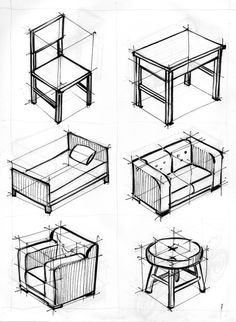 Übungen zu 2 und 3 Fluchtpunkten – konische Perspektive – 7 Exercícios para 2 e 3 pontos de fuga – perspectiva cônica – 7 - Drawing Techniques Drawing Interior, Interior Design Sketches, Industrial Design Sketch, Sketch Design, 3d Sketch, Interior Architecture Drawing, Architecture Drawing Sketchbooks, Studio Interior, Modern Interior