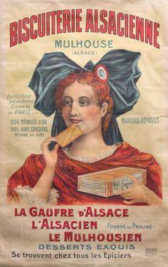 Biscuiterie Alsacienne -  la gaufre d'Alsace - médaille d'or 1904 - France -