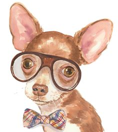 Brown Chihuahua Watercolor PRINT 8x10 Painting by WaterInMyPaint