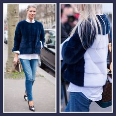 Sarah Harris in Lilly e Violetta blue with a white back Bomber mink jacket | Style du Monde & Athens-Streetstyle.com