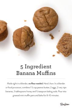 Five-Ingredient Banana Muffins made without flour and baked for just 8 to 10 minutes.
