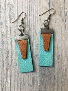 Totally Turquoise w. Caramel Brown Leather Earrings