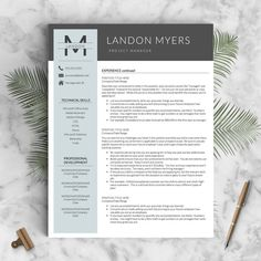 Professional Resume Template for Word & Pages: The Landon - Instant Download - US Letter and A4 sizes included - Mac & PC Compatible using Microsoft Word or Mac Pages __________________ COUPONS: -> 2 Resumes for $25 ($USD) with code GETLANDED -> 3 Resumes for $35 ($USD) with