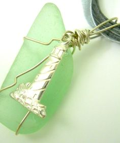 New Green Beach Glass Lighthouse Necklace Oregon Coast Sterling Silver Charm