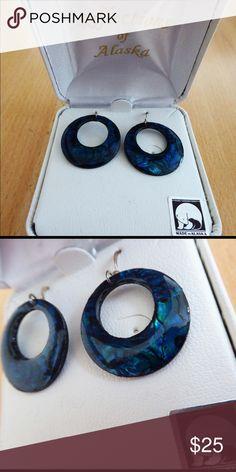 NWT Teal earrings NWT beautiful teal earrings, small hoops. Made in Alaska. ❄️ Jewelry Earrings