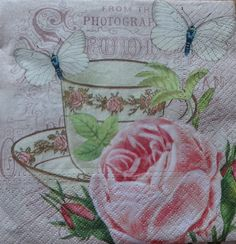 4 Decoupage Napkins, Romantic Paper Napkins, Lunch Napkins, Tea Party Napkins, Napkin for Decoupage, Pink Napkins, Rose Napkin (TEA CUP) by GraceslacesPL on Etsy