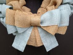 Light Blue and Natural colored Burlap Wreath - perfect for Summer decor or a baby boy shower gift!
