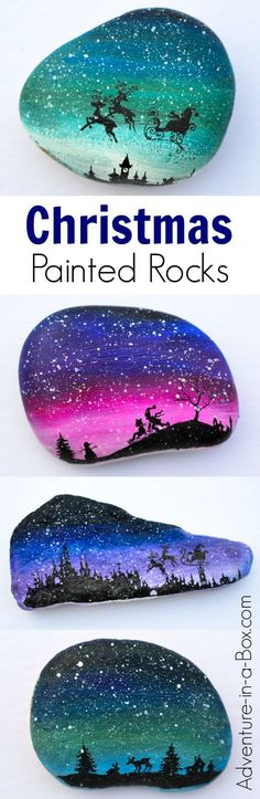 Decorate rocks with magical Christmas silhouettes and a snowy sky! Santa Claus, reindeer, a winter forest and children playing in the snow - it's a great selection for a festive rock painting project.