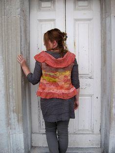 Nuno Felted Silk Bolero Vest  Reversible M or L size by realfaery