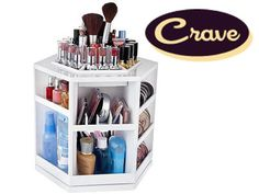 QVC Tabletop Spinning Cosmetic Organizer. Holds up to 100 pieces; includes specially allotted space for things like compacts and lipstick tubes. $27.50