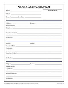 Simple Unit Lesson Plan Template  Simple Lesson Plans And Template