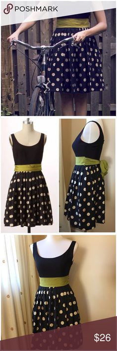 """Anthropologie Corey Lynn Calter Slice Lime Dress 4 •  Sz 4 • 83% rayon • 17% nylon • Acetate lining • Black & ivory pleated polka dot skirt, black bodice, & lime green sash • 17"""" bust • 14"""" waist • 36"""" length • Measurements taken while flat and are approximate  • Back zipper w/ hook and eye closure • Excellent preloved condition • No signs of wear  • Side pockets  • a citrusy sash puckers the waist of Corey Lynn Calter's Polka-dotted frock, lending an unexpected twist of color to its fitted…"""