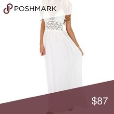 Tiered Lace Sleeve Boho Maxi Dress White Beautiful, light chiffon fabric with a boho, tiered style and long, lace bell sleeves. Chic, off shoulder style that's totally on trend.   ❌ Sorry, no trades.   fairlygirly fairlygirly Dresses Maxi