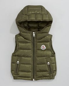 Patrick Detachable-Hood Vest, Olive by Moncler at Neiman Marcus. Vest Outfits, Baby Boy Outfits, Kids Outfits, Moncler, Neiman Marcus, Little Man Style, Kids Vest, Baby Boy Knitting, Knit Baby Dress