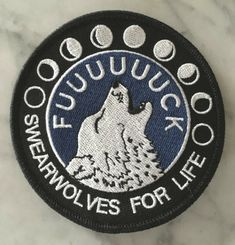 This big ol badass patch lets everyone know where your loyalties lie. Cuss at the moon! Swearwolves for life! x Embroidered twill patch with merrowed border Black, white, and dark royal blue Designed and drawn by me Lily Potter, James Potter, Cool Patches, Pin And Patches, Diy Patches, Diy Punk, Beuys Joseph, Badges, E Mc2