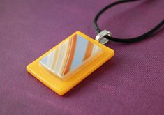 Sunny Days Fused Glass Pendant with Satin Necklace by UniqueGlassTreasures on Etsy