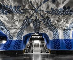 Kunst in een metrostation van Stockholm