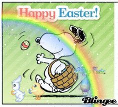 HAPPY EASTER! Jesus Has Risen, He Is Risen, Peanuts Cartoon Characters, Happy Easter Greetings, Snoopy Pictures, Birthday Wishes Funny, Easter Holidays, Hoppy Easter, Peanuts Gang