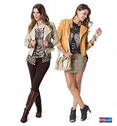 Bichos da estação | jaqueta nude - tricot oncinha - blusa onça - legging marrom - bota montaria - jaqueta caramelo - blusa estampada - saia oncinha - bolsa tiraculo nude - bota com franjas |