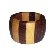 Wooden Napkin Rings | Striped Wooden Napkin Ring