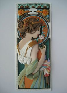 Tribute to Alphonse Mucha Primrose (1899) Polymer clay wall art   10 3/4 inches by 4 1/4 inches  https://www.facebook.com/Tammy-Durham-150231151818367/
