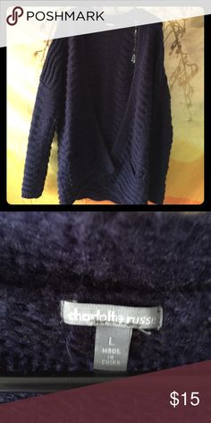 Navy blue cardigan Oversized navy blue Charlotte Russe cardigan with front pockets Charlotte Russe Sweaters Cardigans