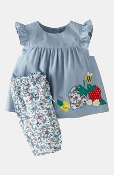 Mini Boden Appliqué Dress & Leggings (Baby) available at Baby Outfits, Toddler Outfits, Kids Outfits, Mini Boden, Toddler Dress, Baby Dress, Little Girl Dresses, Girls Dresses, Baby Girl Fashion